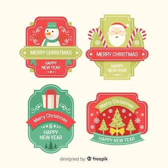 フラットなデザインのクリスマスバッジのセット