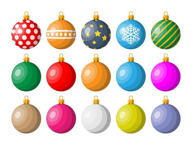 Набор рождественских шаров иллюстрации Premium векторы