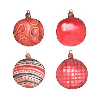 Набор рождественских шаров красного цвета с узорами.
