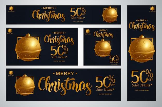 クリスマスバナーのベクトル図のセット