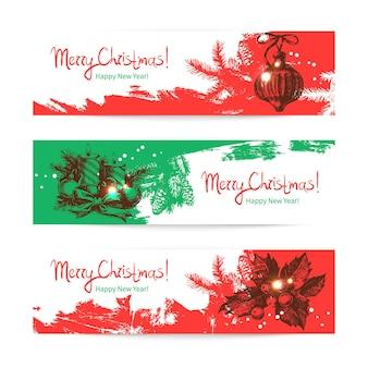 크리스마스 배너 세트입니다. 손으로 그린 삽화