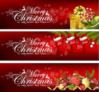 Set of christmas banners with gift boxes