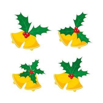 홀리 베리 잎 크리스마스 벨 세트