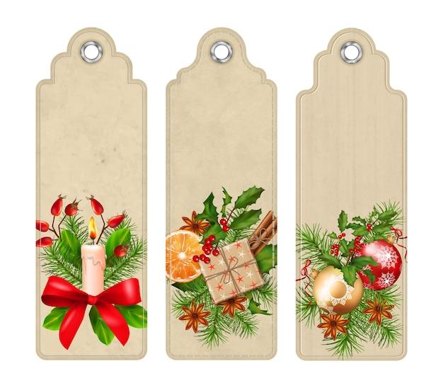 Набор рождественских закладок с праздничными композициями