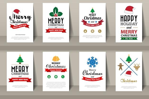 Набор рождественских брошюр в винтажном стиле.