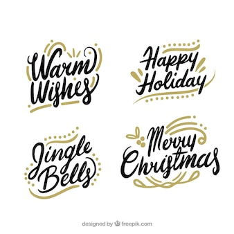 Set of christmas calligraphic lettering