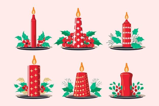 Набор рождественских свечей с веткой рождественский цветочный фон