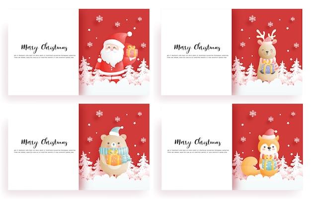 クリスマスカードのセット、青いクリスマスシーン、紙のカットスタイルのイラストで、トナカイ、サンタ、ビール、キツネのギフトボックスを保持しているお祝い。