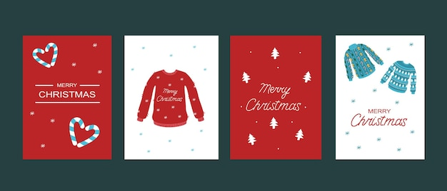 クリスマスカードテンプレートのセット。ベクトルセーターとレタリング