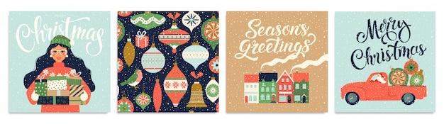 크리스마스 카드와 새 해 복 많이 받으세요 템플릿 집합입니다.