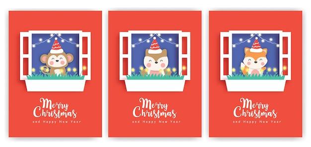귀여운 동물들과 함께 크리스마스 카드와 새 해 인사 카드의 집합입니다.