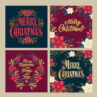 クリスマスカードのセット。メリークリスマスの挨拶