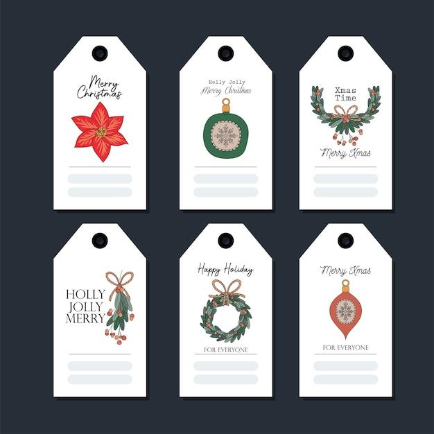 黒のイラストデザインのクリスマスカードのセット