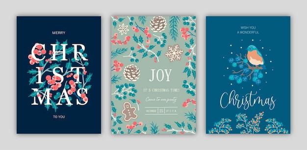 クリスマスカードのセット。テンプレートデザイン。