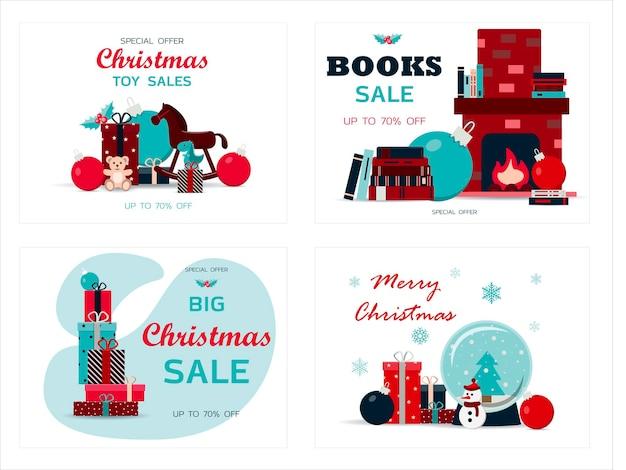 크리스마스 카드 세트 벡터 일러스트 레이 션의 큰 크리스마스 판매 크리스마스 할인 평면 디자인
