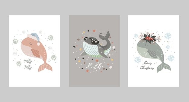 赤ちゃんクジラとクリスマスカードのセット