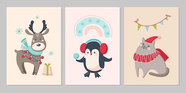 かわいい動物のクリスマスカードのセットです。キャラクタートナカイ、ペンギン、雪片の猫、虹、バナー。ベクトルフラットイラスト。グリーティングカード、チラシ、バナー、ソーシャルメディアのデザイン
