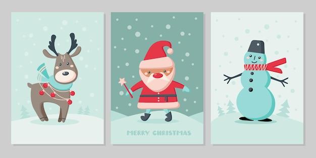 かわいい動物のクリスマスカードのセットです。キャラクタートナカイ、雪だるま、雪片のサンタクロース。ベクトルフラットイラスト。グリーティングカード、チラシ、バナー、ソーシャルメディアのデザイン