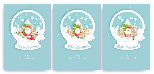 Набор рождественских открыток с милым санта-клаусом
