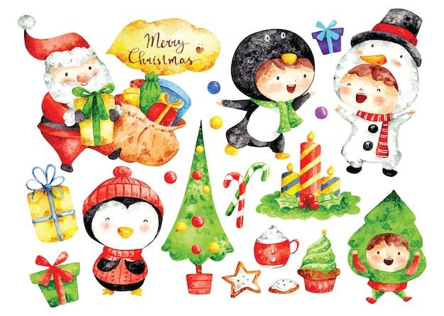 물 색깔에 크리스마스 만화 캐릭터의 설정