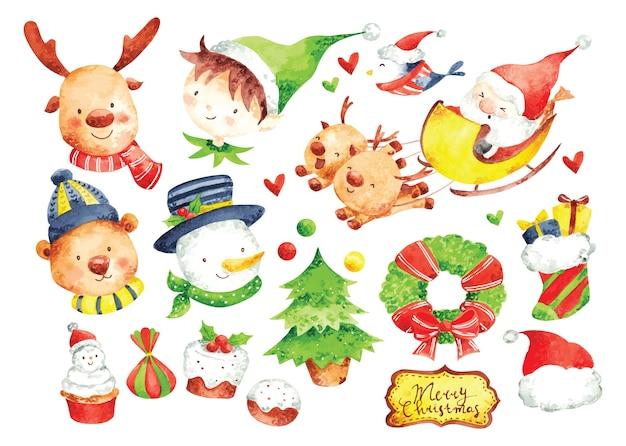 Набор рождественских мультипликационных персонажей в акварели