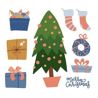 Набор элементов празднования рождества елка подарки игрушки чулки венок украшения зимняя коллек ...