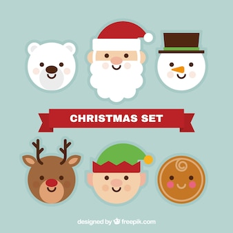 Set of christmas characters in flat design
