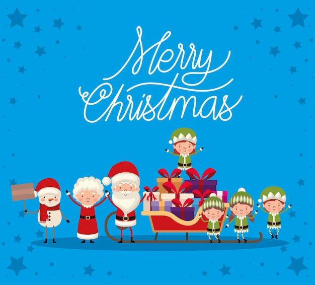 Набор рождественских персонажей на синем фоне.
