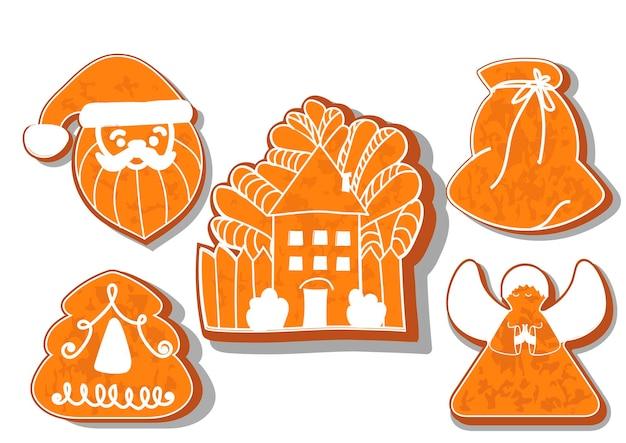 クリスマスクッキーのセットクリスマス新年のジンジャーブレッドのためのさまざまなジンジャーブレッドクッキーのセット