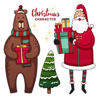 Набор рождественских милый мультфильм символов и элементов.