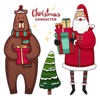 クリスマスのかわいい漫画のキャラクターと要素のセット