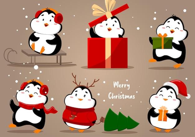 クリスマスかわいいペンギンイラストのセット