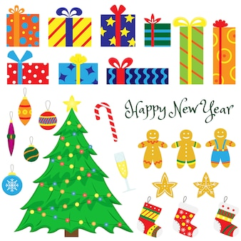 クリスマスデコレーションクリスマスツリー、クリスマスのおもちゃ、ギフト、ジンジャーブレッド、ギフト用ソックスのセットです。漫画のイラスト。