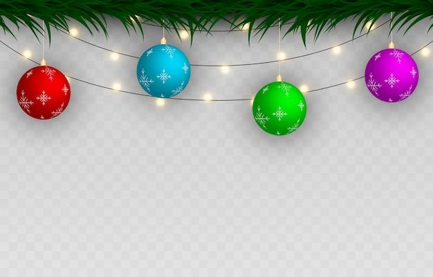 クリスマスの飾りのセット。花輪、モミの木。クリスマスツリーの装飾。孤立した背景の装飾。