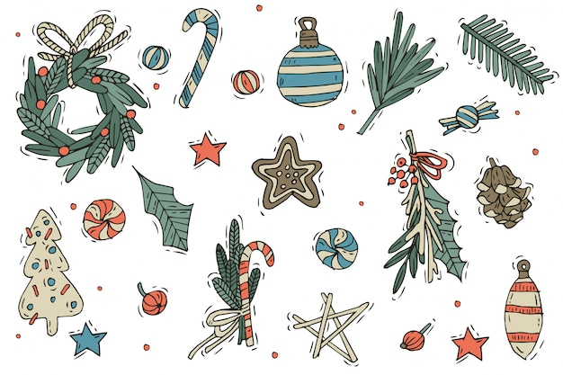 Набор рождественских украшений. рука рисовать элементы на белом фоне. элементы дизайна зимних праздников