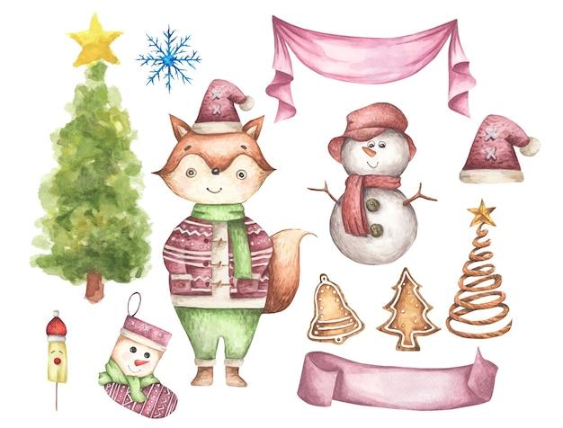 Набор рождественских украшений. акварельные элементы на белом фоне.