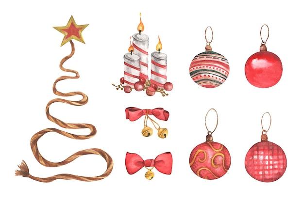 흰색 바탕에 크리스마스 장식 수채화 요소 집합