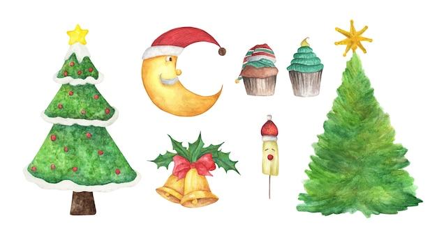 クリスマスの飾りのセット。水彩要素
