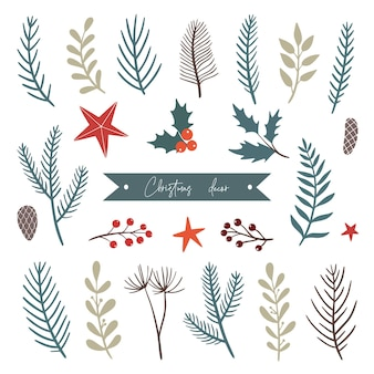 クリスマスの装飾的な要素のセット