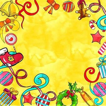 Набор элементов дизайна рождества в стиле каракули