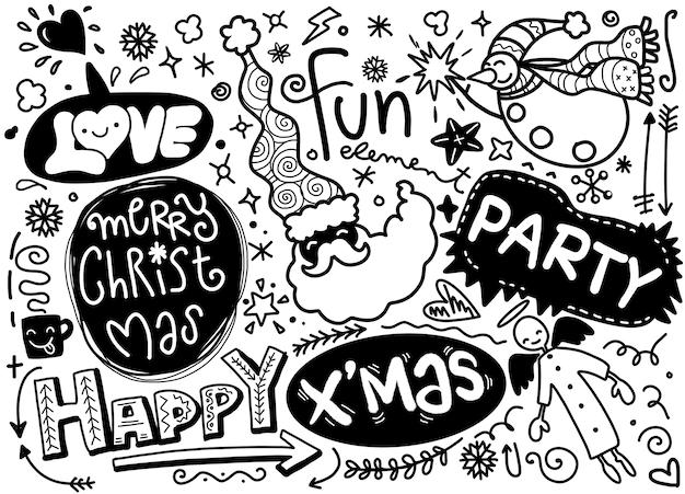 낙서 스타일에서 크리스마스 디자인 요소의 집합