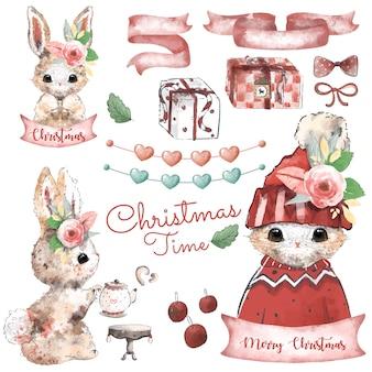 Набор элементов дизайна рождества в стиле акварели.
