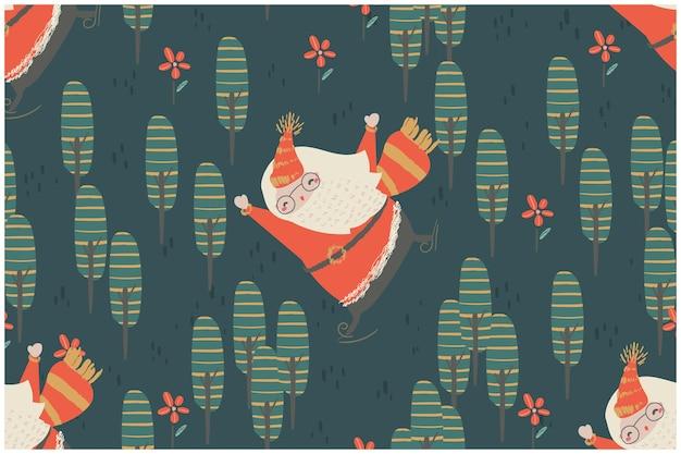 クリスマスデザイン要素のセットシームレスパターンクリスマスツリーと要素。