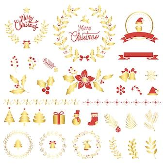 Набор элементов дизайна рождественских элементов