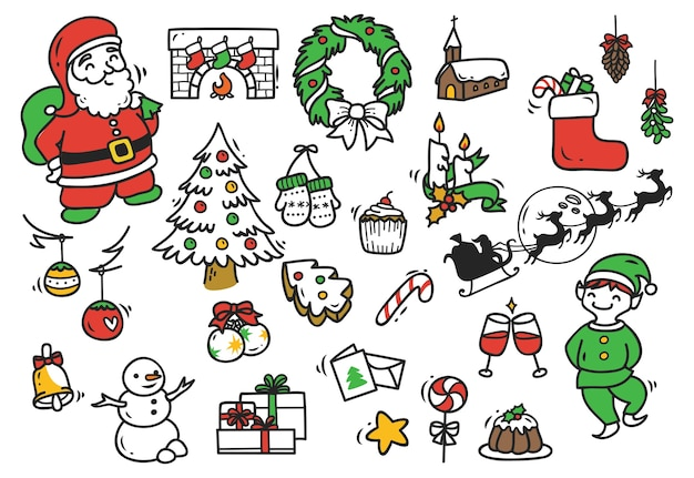 Набор новогодний каракули на бумажном фоне