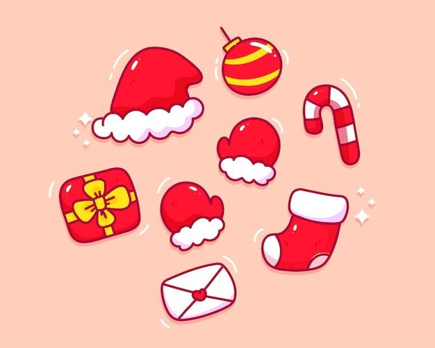 クリスマス要素コレクション手描き漫画アートイラストのセット