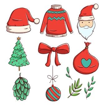 Набор рождественских элементов или украшений с рисованной стилем