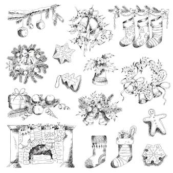 Набор рождественских элементов для дизайна и записки