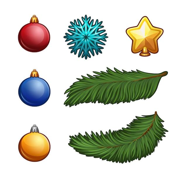 Набор рождественских элементов, изолированные на белом
