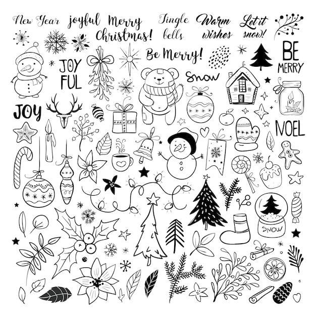 Набор рождественских элементов. снежинки, санта-клаус, новогодняя елка, подарки, каллиграфия, надписи, животные и другие элементы. векторная иллюстрация.